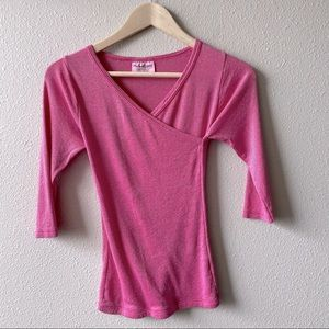 Michael Stars Pink 3/4 Sleeve Surplice Top OSFM